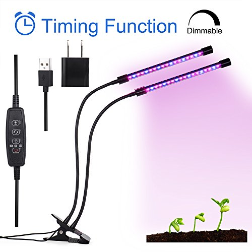 Cheap Timing Function Dual Head Grow light, 36 LED Chips with Red/Blue swappable Spectrum for Indoor Plants,3/6/12H Timer, adjustable Gooseneck, 5 Dimmable Levels, Garden4Ever 2018 Upgraded
