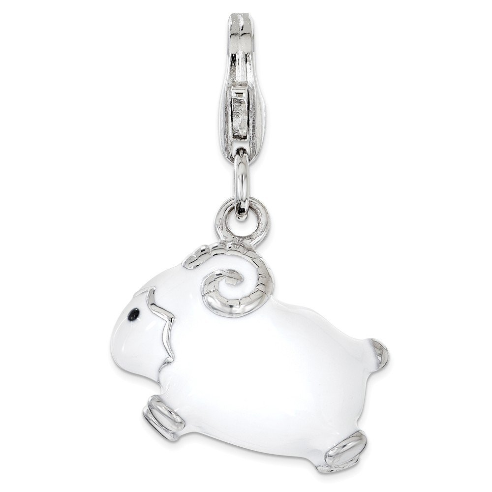 Sterling Silver Enameled 3D Ram Lobster Clasp Charm