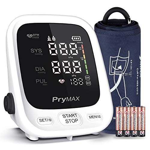 Blood Pressure Monitor Cuff Upper Arm BP Machine, Automatic Say Readings, Fits 8.7 to 16.5 inches, FDA Approved, Digital BP Meter, PRYMAX AES-U312 Upright LED Display, with 4 AAA Batteries and Handbag