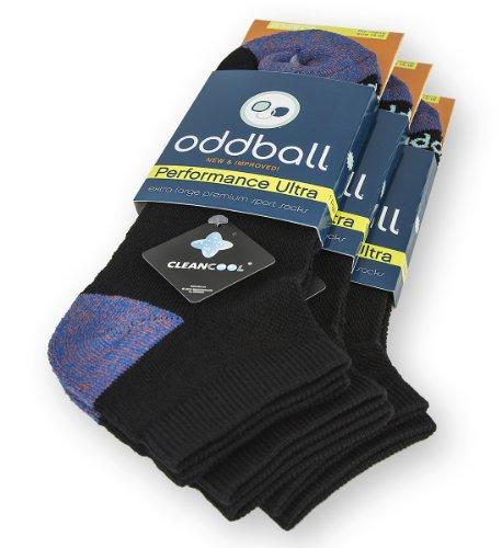 (Oddball Performance Plus II Men's No Show Socks XXL (3-Pack) (Black))