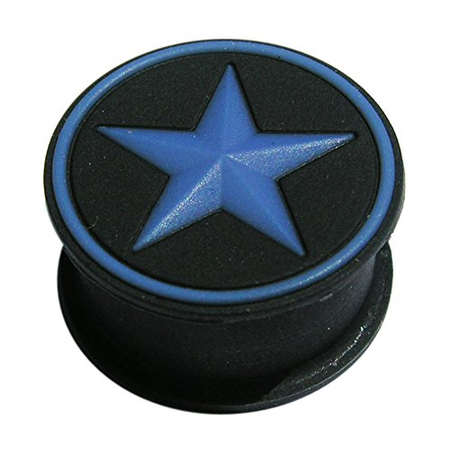 00 Gauge - 10MM Color Change to Blue Under Sunlight Embossed Star Silicone Double Flared Flesh Tunnels