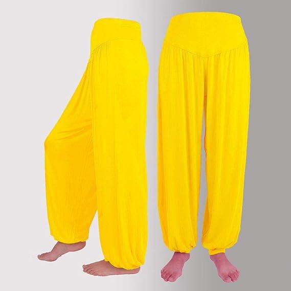 VJGOAL Mujeres más el tamaño de Moda Casual Color sólido Elástico Modal de algodón Pantalones de Yoga Suave Pantalones de Danza de harén Sueltos ...