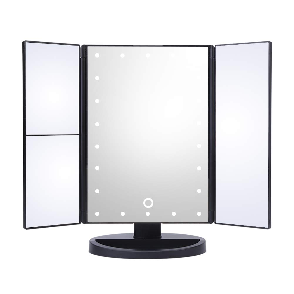 3 Way LED Lighted Vanity Makeup Magnifying Mirror HURRISE Trifold Rectangle Beauty Mirrors with 22 Lights 3x & 2x Magnification for Bedroom Table Desk (White Light)