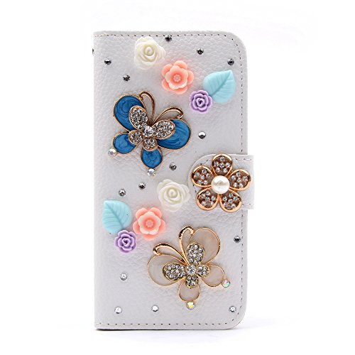 UTOPER Bling Rhinestone Diamond Wallet Case for Apple iphone 6 6G 4.7 inch Flip Leather Stand Cover with Card Slots + Stylus (Butterfly & Flowers)