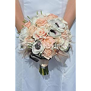 Beautiful Artificial Fresh Touch Purple Centred White Anemone and Peach Rose Bridal Bouquet with Heather and Feathers 44