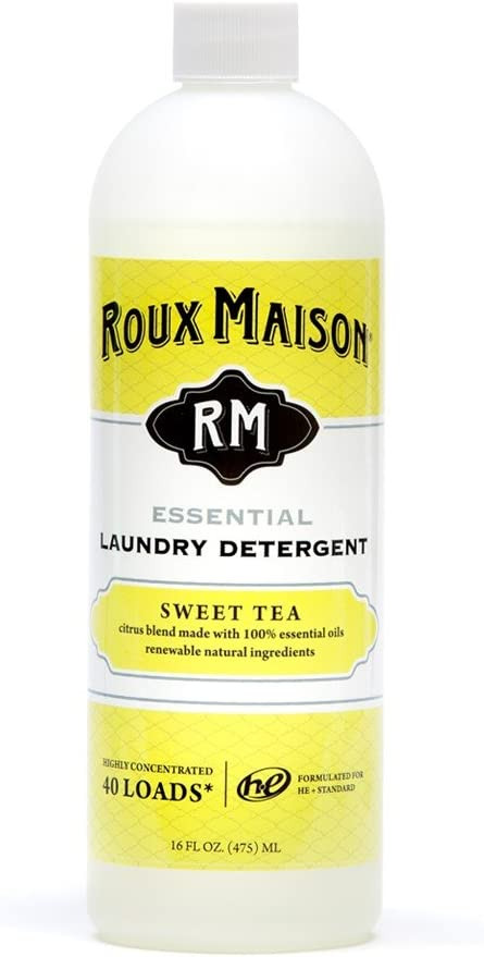 Roux Maison Essential Laundry Detergent - Odor Eliminator HE Detergent, All Natural Laundry Detergent, Up to 40 Machine Loads or 80+ Hand Washes - Sweet Tea 16oz.