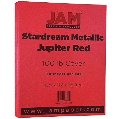 JAM PAPER Metallic 110lb Cardstock - 8.5 x 11 Coverstock - Jupiter Red Stardream Metallic - 50 Sheets/Pack