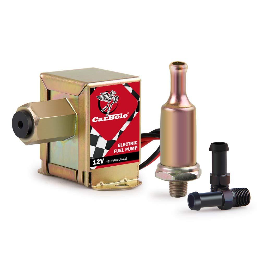 12V pompa elettrica carburante a bassa pressione, bullone di fissaggio filo diesel gas benzina Inline pompa del carburante universale in metallo 4–7psi hep-02a per carburatore furgoni auto camion