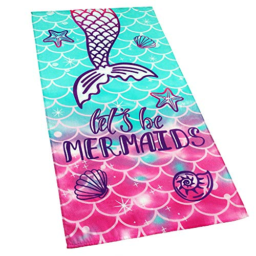 Softerry Mermaid Princess Beach Towel 30 x 60 inch Velour 100% Cotton, Pink and Green]()