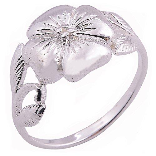 Handmade Flower 925 White Sterling Silver Thailand Ring (8)