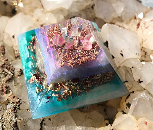 Orgonite Pyramid/Goddess Crystals/Violet Flame Orgone Pyramid (Copper Wall Flames Art)