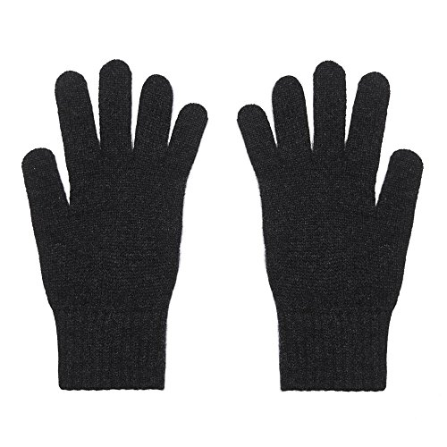 Ladies 100% Cashmere Gloves, Made In Scotland, Charcoal