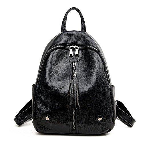 Zgjq Leather Travel Bags Backpack Students Bag Bag Fashionable Dual-use Black Christmas