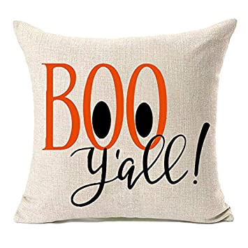 Phenomenal Fazhishun Fall Decor Cotton Linen Halloween Home Decorative Boo Yall Thanksgiving Day Throw Pillow Cover Cushion Cover For Sofa Couch 18 X 18 Inzonedesignstudio Interior Chair Design Inzonedesignstudiocom