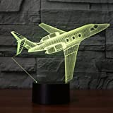 Plane 3D Lamp Optical Illusion Night Light, Gawell 7 Color Changing Touch Table Desk Lamps with Acrylic Flat & ABS Base & USB Cable for Awesome Gift