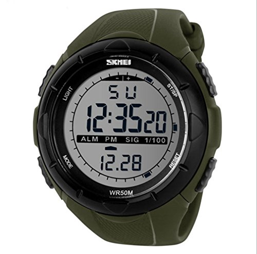 LinTimes Mens Multifunction Big Sports Watch Military Style 50M Water Resistance Digital Backlight Simple Sport Wristwatch olive green (Meters Resistance 50)