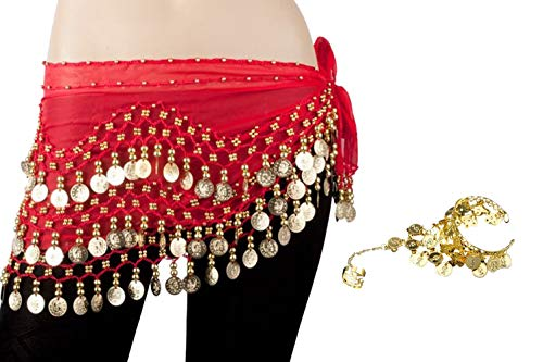 Bellylady Gold Coins Belly Dance Hip Scarf, Wholesale Dance Belt & Gypsy Bracelet-Red
