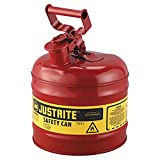Justrite 7120100 - Galvanized Steel, Type I Red Safety Can, With Large ID Zone, Meets OSHA & NFPA Standards For Handling Hazardous liquids. 2 Gallon (7.5L) Size.