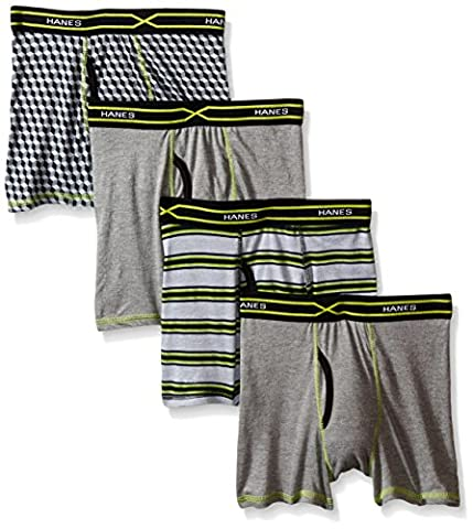 Hanes Boys' 4-Pack X-Temp Boxer Brief, Assorted, Large - 4 Pack Boxer Brief