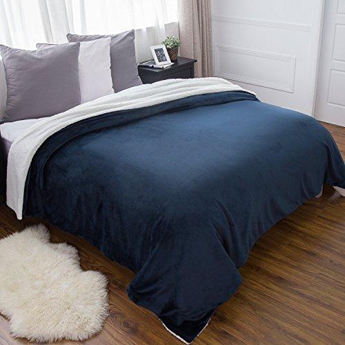 Sherpa Bed Blanket Navy Blue Queen size 90x90 Bedding Fleece