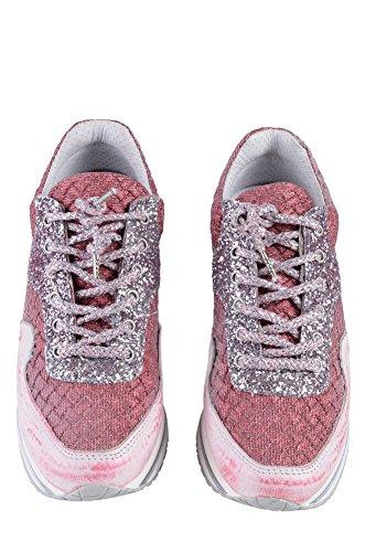 Sneaker Da Donna Sneaker In Pelle Rosa 2 Stelle Oro 38
