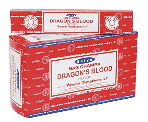 Satya Sai Baba Nagchampa Dragon Blood Incense Sticks Fragrance Agarbatti - Pack of 12 Boxes (15 gm each)- 180 gm
