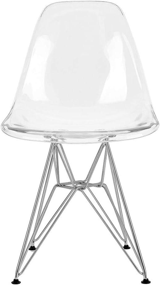 acero para comedor oficina restaurante y jard/ín sala de estar 40 x 46 x 81 cm Juego de 2 sillas fantasma de policarbonato