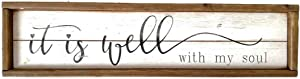 Retro Wood Home Wall Decor Sign with Inspirational Quotes - It is Well with My Soul|Brown Wood Frame White Background Farmhouse Wall Plaque|23.6 x 1.2 x 6 Inches