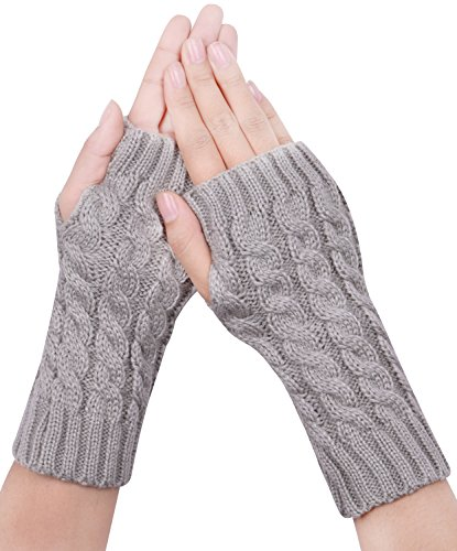 ist Knitted Fingerless Gloves Mittens Thumb Hole Women Gray (Knitted Wrist Warmers)