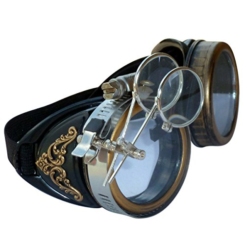 Handmade Steampunk Victorian Style Goggles with Vintage Filigree Decoration, Costume Novelty Accessory
