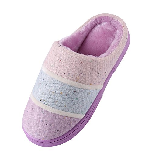 Cotton shoes warm home slippers plush Purple boots Knitted winter fabrics Unisex RqY5xAzw