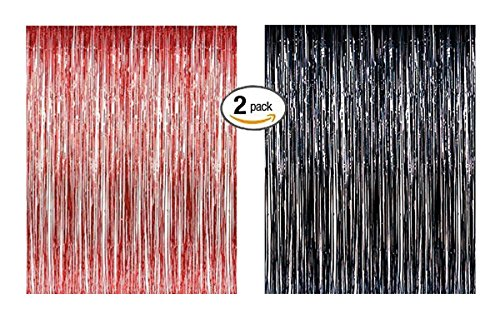Door Red Photo (Lobyn Value Packs Black Red Foil Fringe Door & Window Curtain Party Decoration 3' X 8' (36