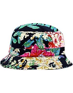300pt1506-5 Floral Hawaiian Bucket Hat (Green/blac...