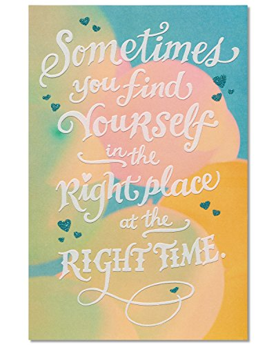 American Greetings Romantic Right Place Right Time Birthday Greeting Card with Glitter