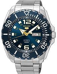 Seiko Mens Seiko 5 43.5mm Steel Bracelet & Case Hardlex Crystal Automatic Blue Dial Analog Watch SRPB37K1