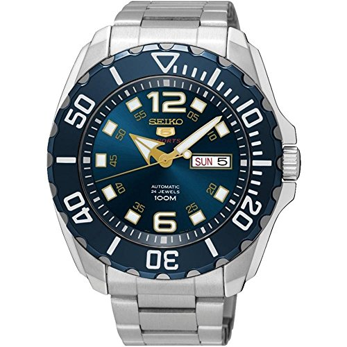(Seiko Men's Seiko 5 43.5mm Steel Bracelet & Case Hardlex Crystal Automatic Blue Dial Analog Watch SRPB37K1)