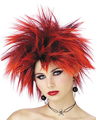 [Wig Pink Red or Purple Punker Girl Punk Chic Color: Red] (Punk Rocker Girl Costume Ideas)