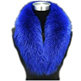 Large Long Detachable Natural Fox Fur Collar for Winter (110cm, blue)
