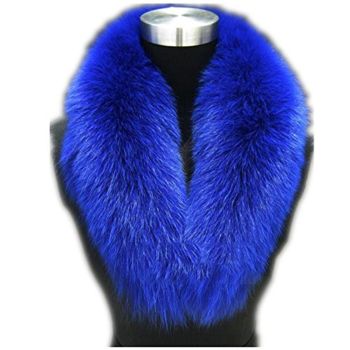 Blue Fox Fur Scarf (Large Long Detachable Natural Fox Fur Collar for Winter (80CM, blue))