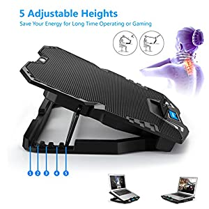 TekHome 5-Fan 12-15.6 inch Laptop Cooling Pad, Best Gaming Cooler for Notebooks Like Alienware, MacBook Air, LED Blue Light, 5 Adjustable Wind & Heights, Steel Bracket, 2 USB Ports.(LTC002)