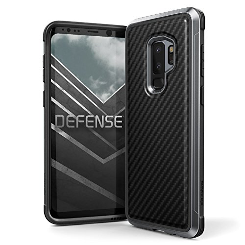 X-Doria Galaxy S9 Plus Case, Defense Lux Premium Protective Aluminum Frame Thin Design Shockproof Case for Samsung Galaxy S9 Plus, Black Carbon Fiber