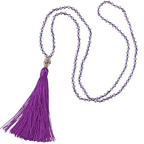 - KELITCH Fashion Crystal Strand Necklace Long Chain with Buddha Head Tassel Pendant - Deep Purple