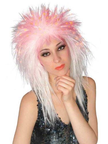 Rubie's Costume Spiky Fiber Optic Wig, White, One (White Fiber Optic Costumes Wig)