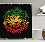 Ambesonne Rasta Shower Curtain, Ethiopian Flag Colors on Grunge Sketchy Lion Head with Black Backdrop, Cloth Fabric Bathroom Decor Set with Hooks, 70' Long, Lime Green