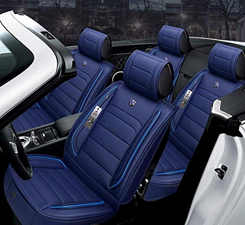 AYCYNI Easy To Clean Pu Leather Car Seat 5 Seats Full Set - Non-Slip Suede Backing Universal Fit Adjustable Bench For 99% Type Of Car,Gray,Blue: Kitchen & Home