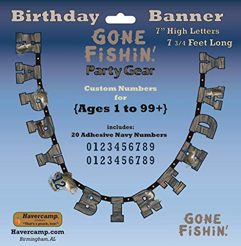Gone Fishin' Happy Birthday Banner, 7-Inch Letters, 7.75-Foot Banner, Gone Fishin' Party Collection by Havercamp     -