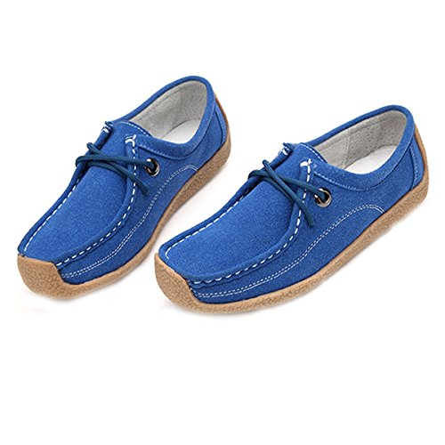 Slippers Shoes Driving Loafer Up Boat on Indoor Women Flat Slip Time Moccasin Lace Blue On Shoes Dear Slip p6xgqq