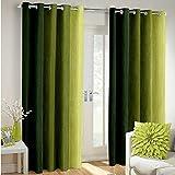 Weavers Villa Polyester Blend Striped Window Curtains - Set of 2 (Green, 5 Feet - Window)