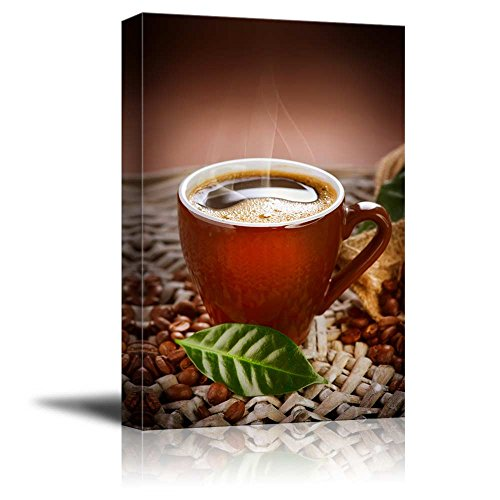 Canvas Prints Wall Art - Coffee Cup with Coffee Beans   Modern Wall Decor/Home Decoration Stretched Gallery Canvas Wrap Giclee Print & Ready to Hang - 24