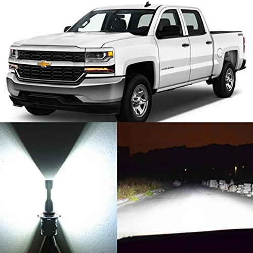 Alla Lighting 2x Super Bright 9005 HB3 9005LL White LED Bulbs High Beam Headlight Conversion Kits Replacement for 1999 ~ 2015 Chevrolet Chevy Silverado 1500 / 99~2017 Silverado 2500HD 3500HD